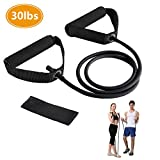 Resistance Bands, Exercise Bands with Handles, Home & Gym Strength Training Tubes, Resistance Loop Bands for Men/Women, Workout Bands for Shoulder, Arm and Leg, Fitness Strength Training Equipment for Improving Mobility 30 lbs (Black)