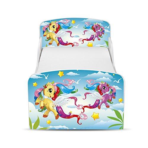 Leomark Moderne Lit d'enfant Toddler 140 x 70 Motif Pony Lit pour Enfant avec tiroir + Matelas