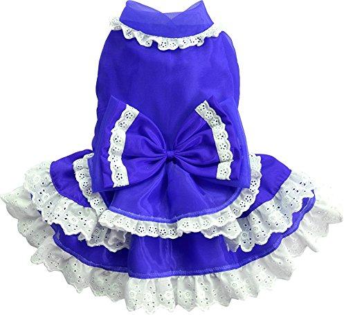 Doggy Dolly D338 Hundekleid mit Lagenrock und Spitze, blau, Größe : S