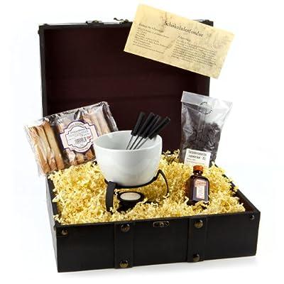 Geschenk Set Schokofondue - Holz-Schatztruhe mit Fondueschale und viel Zubehör