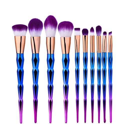 Fashion Base® Diamond Lot de 10 pinceaux de maquillage couleur arc-en-ciel dégradé Pour fond de teint, blush, fard à paupières, sourcils