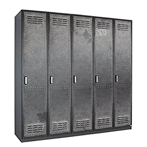 Rauch Select Armoire à portes battantes Workbase - Aspect imprimé industriel / Gris graphite - 181 cm (4 portes) - butoir à droite