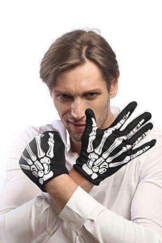 DRESS ME UP - RH-004-white Handschuhe Halloween Schwarz Skelett Knochen Tod Rocker Rockabilly (Zombie Punk Kostüm Halloween)