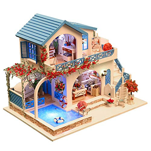 ToDIDAF Wooden Dollhouse 3D DIY Miniature House Furniture LED House Puzzle Art Cottage Model Educational Toy Gift for Halloween Christmas Valentine's Day Bedroom Home Garden Decor - Blue White Town -