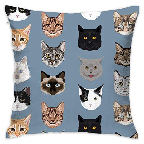 Katze Gesichter Hallo Katzen Kitty niedlichen Gesichter Katzen Stoff Kissenbezug 18