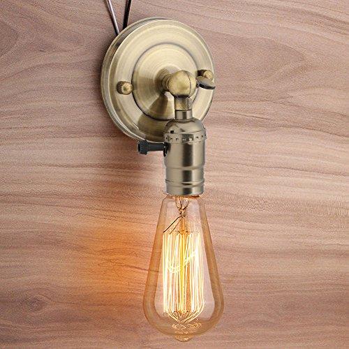 eecoo Vintage Licht Halter Haengeleuchte Wand Lampenfassung Edison mit Twist Schalter für Dekoration E27 Retro Vintage Deckenleuchte Adapter Beleuchtung für Küche, Schlafzimme(Bronze)