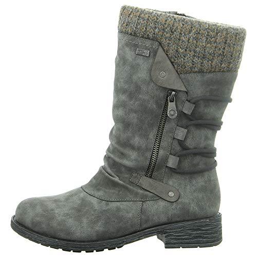 Remonte Damen Winterstiefel D8070,Frauen Winter-Boots,Fellboots,Fellstiefel,gefüttert,Warm,Wasserabweisend,Blockabsatz 3.5cm,Smoke/Fumo/Graphit / 45, EU 37