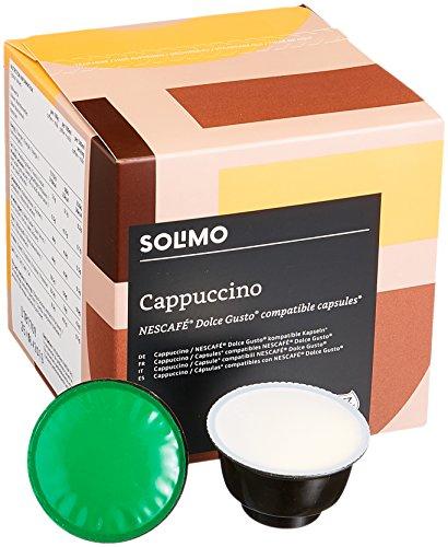 Marca Amazon-Solimo Cápsulas Cappuccino, compatibles Dolce Gusto*- café certificado UTZ- 96 cápsulas (6 x 16)
