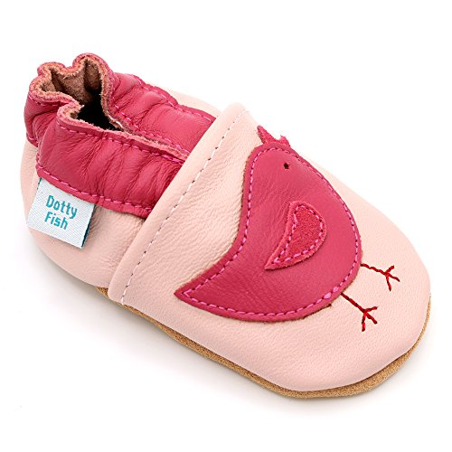 Dotty Fish Leder Babyschuhe - rutschfest Wildledersohle – chromfrei weiche Lederschuhe - Baby Mädchen - rosa Vogel - 2-3 Jahre - Gr. 25