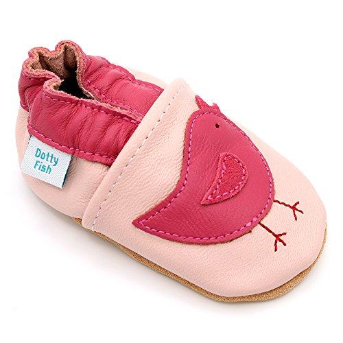 Dotty Fish Leder Babyschuhe - rutschfest Wildledersohle – chromfrei weiche Lederschuhe - Baby Mädchen - rosa Vogel - 18-24 Monate - Gr. 23