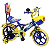 NY Bikes Aqua 14T Kids Bicycle for 3 to 5 Years Age Group (Blue and Yellow)