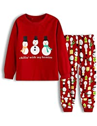 Cotton Children's Clothing Boys and Girls Cartoon Long-Sleeved New Year Christmas Home Service Suit Pajamas