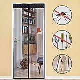 Rabbitgoo Fliegengitter Tür Insektenschutz Magnetvorhang Moskitonetz für Tür 100*210cm Magnetverschluss Schwarz Magnetischer Fliegenvorhang für Türen des Balkons Wohnzimmers