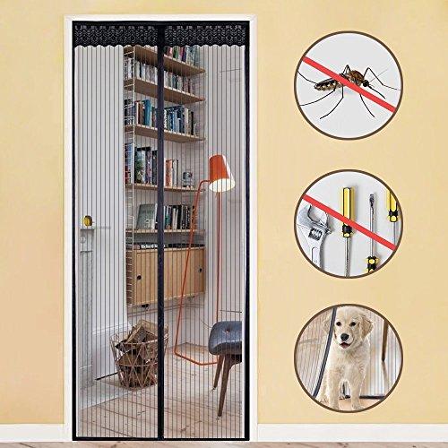 Zanzariera magnetica per porte - rabbitgoo zanzariera porta nera 90x210 cm con calamita e velcro, entra l'aria fresca filtrando fuori gli insetti per porte misura max 84x208 cm