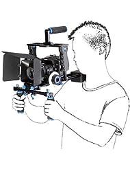 ashanks Juego de DSLR Rig Película Kit película haciendo sistema vídeo apoyo soporte de hombro/jaula de cámara/caja mate/Follow Focus para cámaras Canon, Nikon, Sony cámara videocámara