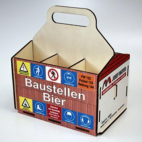 Bierträger aus Holz - SixPack – Baustelle – Richtfest – neues Heim - Baustellen-Bier (Alles Gute zum Richtfest)
