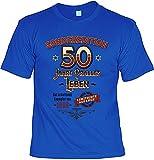 smurfbay Geburtstag T-Shirt - Sonderedition 50 Jahre Pralles Leben - Zum 50er mit Urkunde