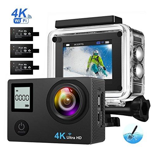 Galleria fotografica OMORC Action Cam Action Camera 4K HD con Doppio Schermo Fotocamera Subacque, 16MP WiFi 3 Batterie Ricaricabili, Bastone Selfie Incluso. Nero