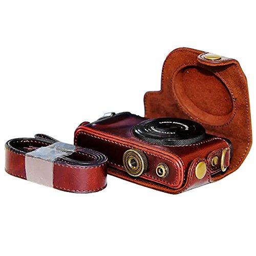 First2savvv XJPT-S120-10 dunkelbraun Ganzkörper- präzise Passform PU-Leder Kameratasche Fall Tasche Cover für Canon PowerShot S100 S110 S120 S200