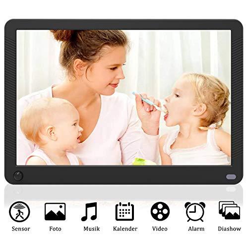 Digitaler Bilderrahmen 10 Zoll 1920x1080 HD IPS Display Elektronischer Bilderrahmen für Fotos/Videos/Wecker/Kalender/Auto EIN/AUS Timer mit Bewegungssensor und Fernbedienung