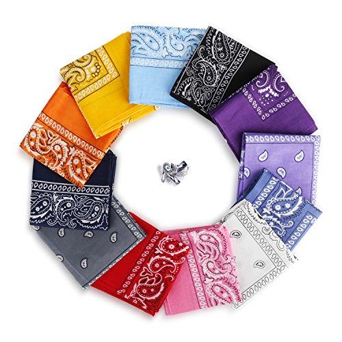 YISSVIC 12pcs Pañuelos Bandanas para Cabeza y Cuello Multicolor Múltiple de 100% Algodón para Hombre y Mujer