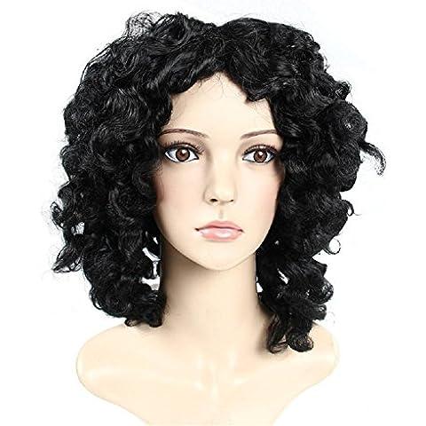 Meydlee Pelucas Pelucas de pelo largo y rizado Negro onda floja