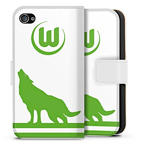 Apple iPhone X Silikon Hülle Case Schutzhülle Vfl Wolfsburg Fanartikel Wölfe Fußball Sideflip Tasche weiß
