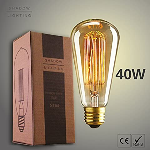 Edison Light Bulb ST64 Squirrel Cage - 40w - Provide Soft Yellow Glow & Beautiful Atmosphere - Incandescent Filament & Dimmable - Perfect For Vintage & Retro Lamps - Satisfaction Guaranteed