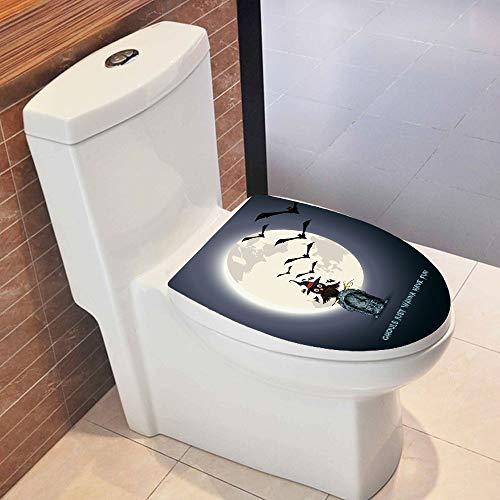 Y56 WC-Aufkleber Hallowmas Toilettensitz Wandaufkleber Deckel für Toilettendeckel Badezimmer Toiletten Sitz Decals Vinyl Art Tapete Removable Decor (C)