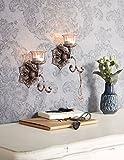 miaVILLA Wandkerzenhalter Antik Teelichthalter Romantik Look Metall Glas Silber