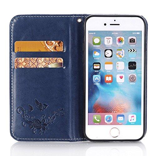 Cover iPhone 5 in Pelle PU - Oro Rosa,Custodia a Portafoglio per iPhone 5S,YingC-T iPhone 5 SE 5S Elegante Belle Stampa Farfalla Fiore di Rosa Design Lussuosa PU Custodia del Cuoio Copertura con Carta Blu Scuro