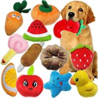 Qvatox Dog Squeaky Plush Toys 12 Pack Puppy Squeaky Dog Chew Toys for Small Dogs Pets Fruits and Vegetables 4.5-8 Inch