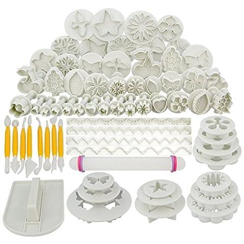 SUMERSHA Kuchen Dekoration Tool Set Fondant-Kuchen Ausstechform Icing Blume modelliert Werkzeuge 21 Sets