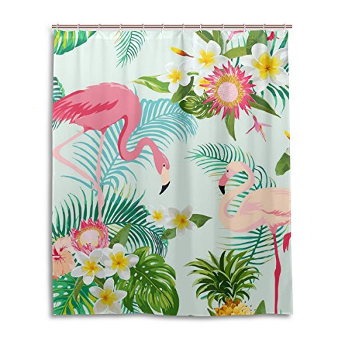 Dusche 152,4x 182,9cm, tropischen Blumenmuster Polyester-Flamingos, schimmelfest-Badezimmer Vorhang ()