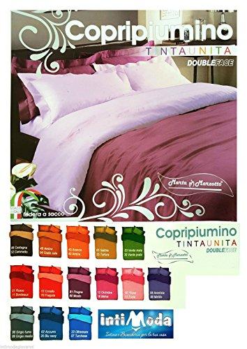 Copripiumino federe matrimoniale tinta unita double face marta marzotto made in italy (prugna/mosto)