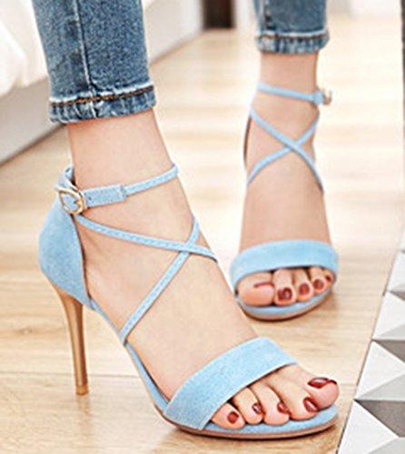 Aisun Femme Sexy Peep Toe Lanière Sandales Bleu