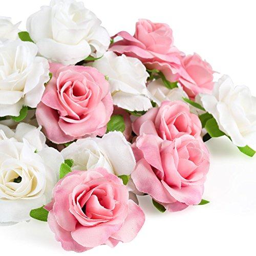 Kesote 50 pezzi di teste di rosa artificiale di seta, fiori di seta, rose artificiali di decorzione per matrimonio, festa, casa, 25 bianche + 25 rosa, 4 cm