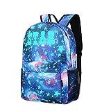 Ode_Joy Luminoso Borsa da viaggio di grande capacità - Zaino per studenti-Borsa del portatile-Galaxy School Viaggio Escursionismo Borsa Zaino Collezione Tela per Teen Ragazze Bambini
