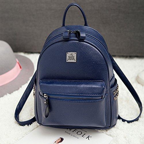 LiZhen Double-borse tracolla femmina pu coreano moda singoli wild tempo libero Mini Bundle Ms. nuove ondate di zaino nero Royalblue