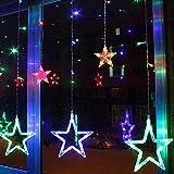 COOSA Stern LED-Vorhang Lichterkette, Fenster-Licht für Weihnachten, Partei, Festival, Außen- und Innenbeleuchtung (bunt)