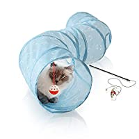Bella & Balu Cat Tunnel incl. cat fishing rod - collapsible Play Tunnel for cats - promotes natural hunting and playing instincts (130 cm long)