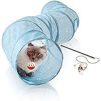 Bella & Balu Katzentunnel inkl. Katzenangel – Zusammenfaltbarer Spieltunnel für Katzen – fördert den natürlichen Jagd- und Spieltrieb (130 cm lang)