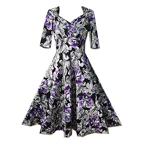 Dissa M1149 femme Rockabilly Robe de Soiré cocktail Robe de Bal Retro Violet