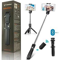 Yimidon Perche Selfie Bluetooth, Selfie Stick Trépied avec Réglable Télescopique Support Téléphone pour iPhone X/XR/8/7/6/6S/XS, Samsung S7/S9/Galaxy S7/Galaxy S8/S7 Edge, Huawei P20/PRO/Mate