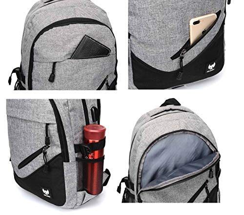 Fur Jaden Grey Casual Backpack with USB Charging Port and 15.6 Inch Laptop Pocket Image 5