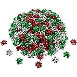 240 Pezzi Mini Regalo Avvolgere Fiocchi di Natale Metallico Fiocchi Auto Adesivo Regali Fiocchi per Vacanze Natale Compleanno Festa Favore (Colore di Natale)
