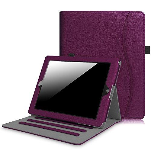 Fintie Hülle für iPad 2 / iPad 3 / iPad 4 - [Eckenschutz] Multi-Winkel Betrachtung Folio Stand Schutzhülle Cover Case mit Dokumentschlitze, Auto Schlaf/Wach Funktion, Lila