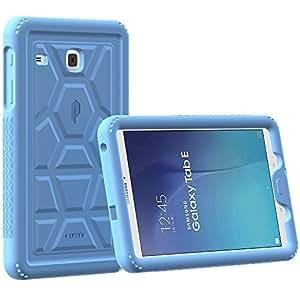 """Custodia Galaxy Tab E 9,6 - Custodia Poetic Galaxy Tab E 9,6"""" [Serie Turtle Skin] - [Protezione Angolo/Paraurti] [Presa] [Suono-Amplificazione] Custodia Protettiva in Silicone per Samsung Galaxy Tab E 9,6 (2015) Blu (3 Anni di Garanzia del Produttore Poetic)"""