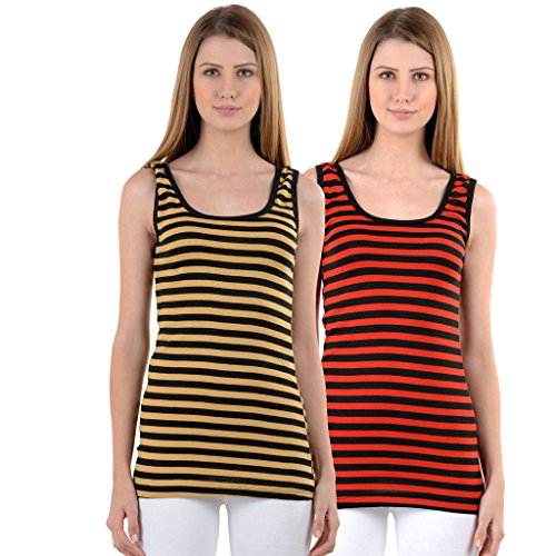 NumBrave Beige & Red Tank Top for Women (Pack of 2)