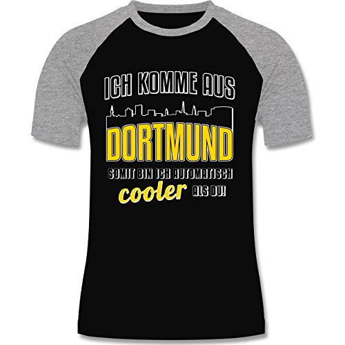Städte - Ich komme aus Dortmund - zweifarbiges Baseballshirt für Männer Schwarz/Grau Meliert